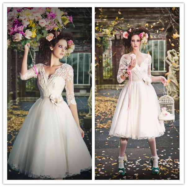 Vintage Lace Tea Length Beach Wedding Dress Short Sleeves: Vintage Short Wedding Dress Fashionable V Neck 3/4 Long
