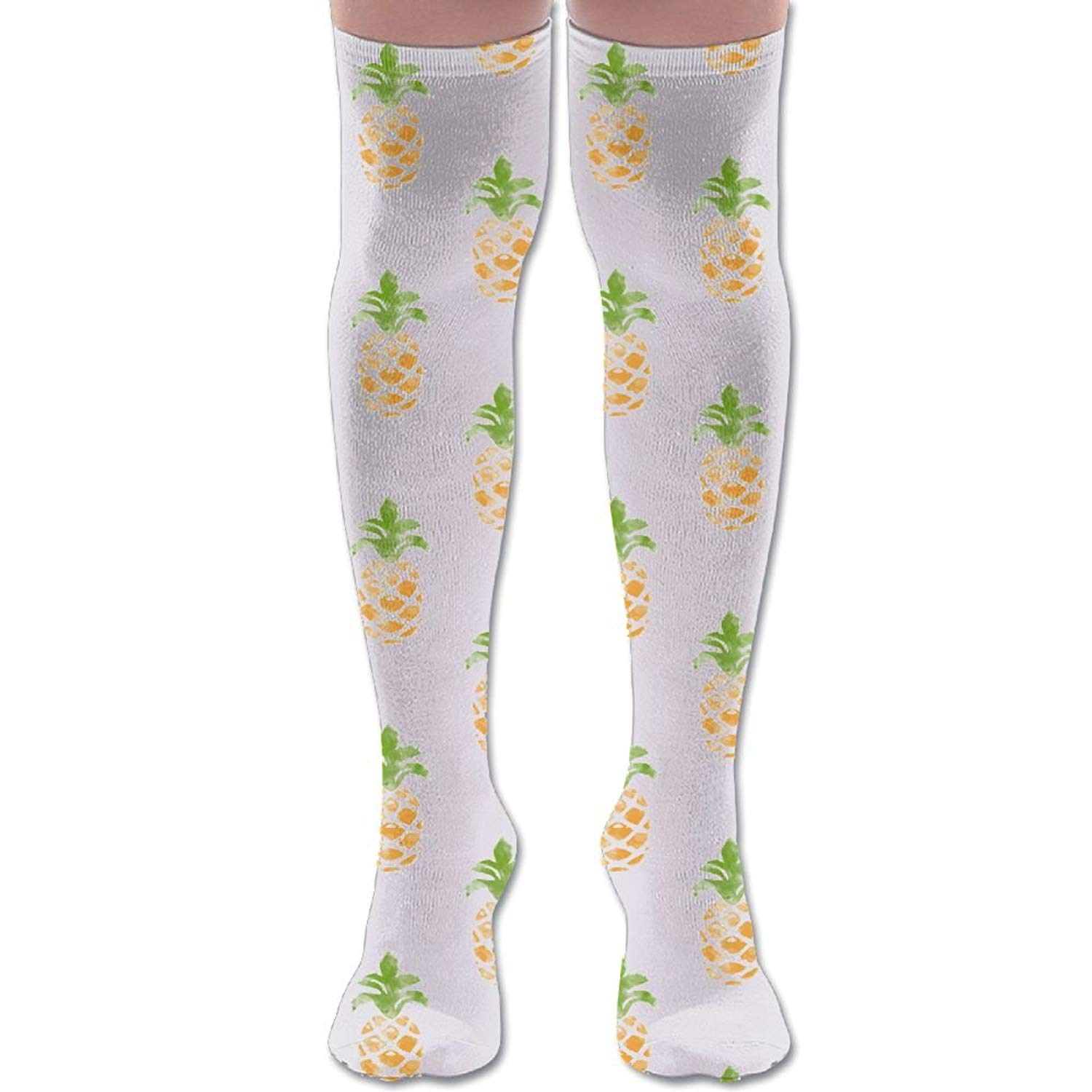 38785d4076d Get Quotations · Funny Pineapple Women s Sport Good Air Permeability Soft Knee  High Socks Funny