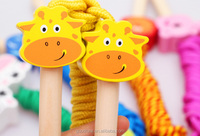 Wholesale Educational Toy Cartoon Animal Wooden Handles Jumping Rope