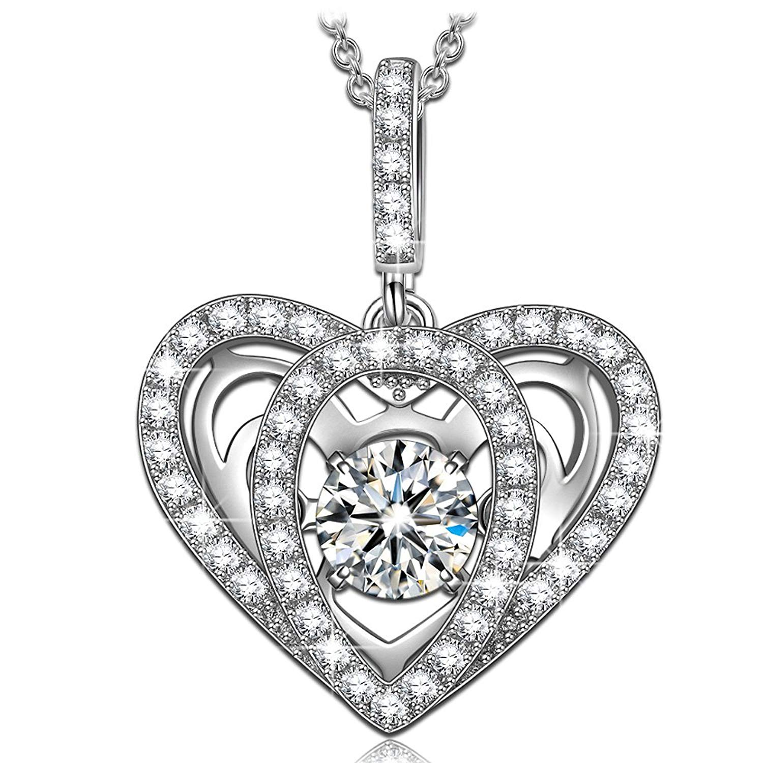 """55d2d5f6fe2 Get Quotations · DANCING HEART 925 Sterling Silver """"Precious Love"""" Necklace"""
