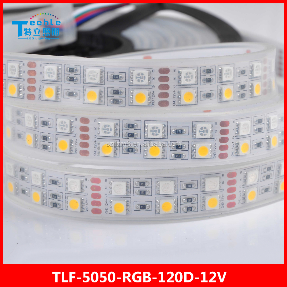 12/24V <strong>RGB</strong>+W led strip 120leds/meter 28.8w/meter IP67 silicone tube