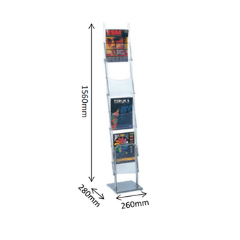 A4 Six Boxes Foldable Clear Plastic Magazine Holder