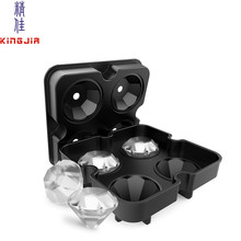 HOT Selling Custom ice ball maker mold Diamond Shaped Silicone Ice Cube Tray met Deksel