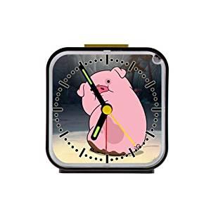 The Fame Cute Funny Piggy Custom Square Black Alarm Clock Travel Clock