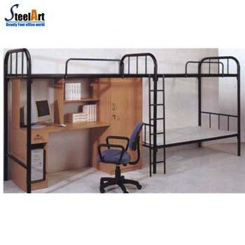 Convenient Double Bed Design With Study Table And Computer Desk
