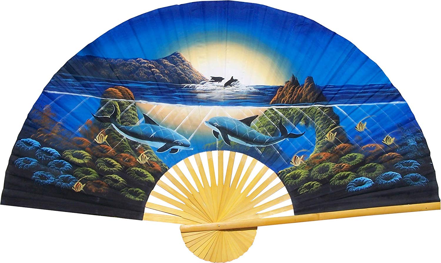 "Large 60"" Folding Wall Fan -- Striking Dolphins -- Original Hand-painted Wall Art"