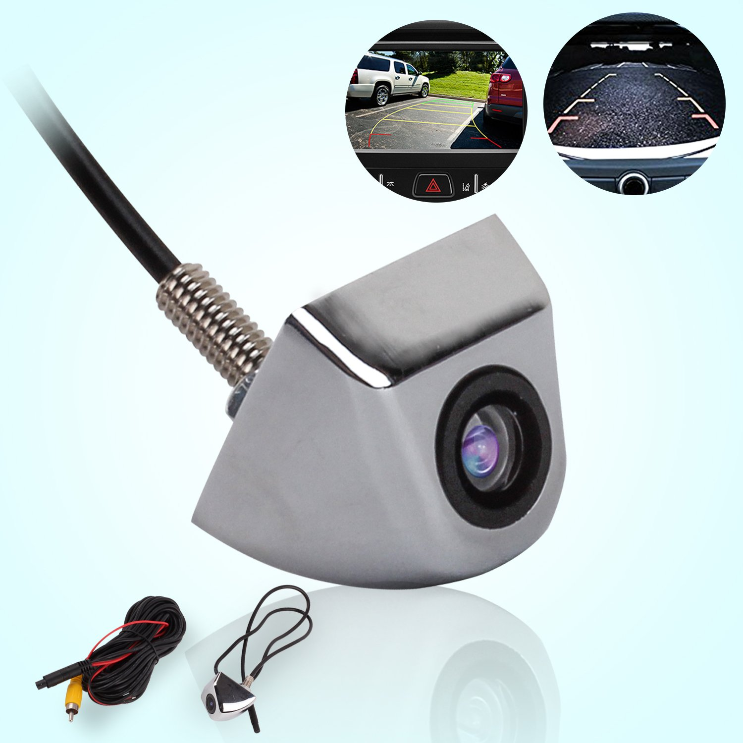 1 Year Warranty Silver JKCOVER 170 Degree Night Vision Car Rear View Camera Rear-View Back-up and Parking Camera Universal Waterproof Color CCD Imaging Chip Truck Car Rear View Camera