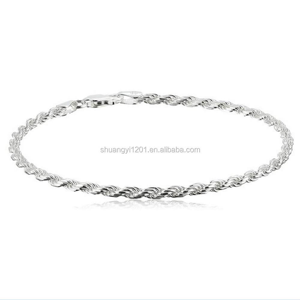 Hot Selling Diy Jewelry Finding Silver Braided Copper Chain Bracelets Bangles For Diy