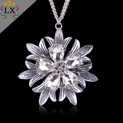 PLX-00209 Simple design women jewelry clear crystal silver plating custom flower of life alloy pendant