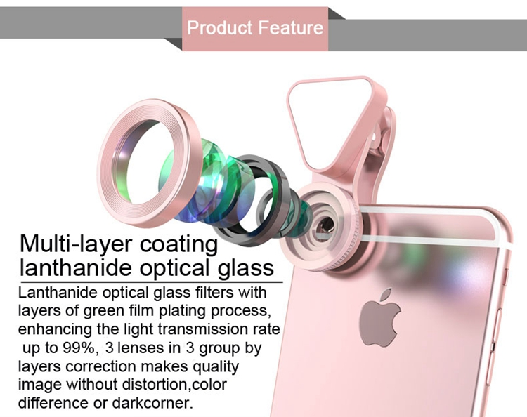 Clip Universal 3 en 1 Luz de Flash de la Lente de la cámara para el teléfono móvil