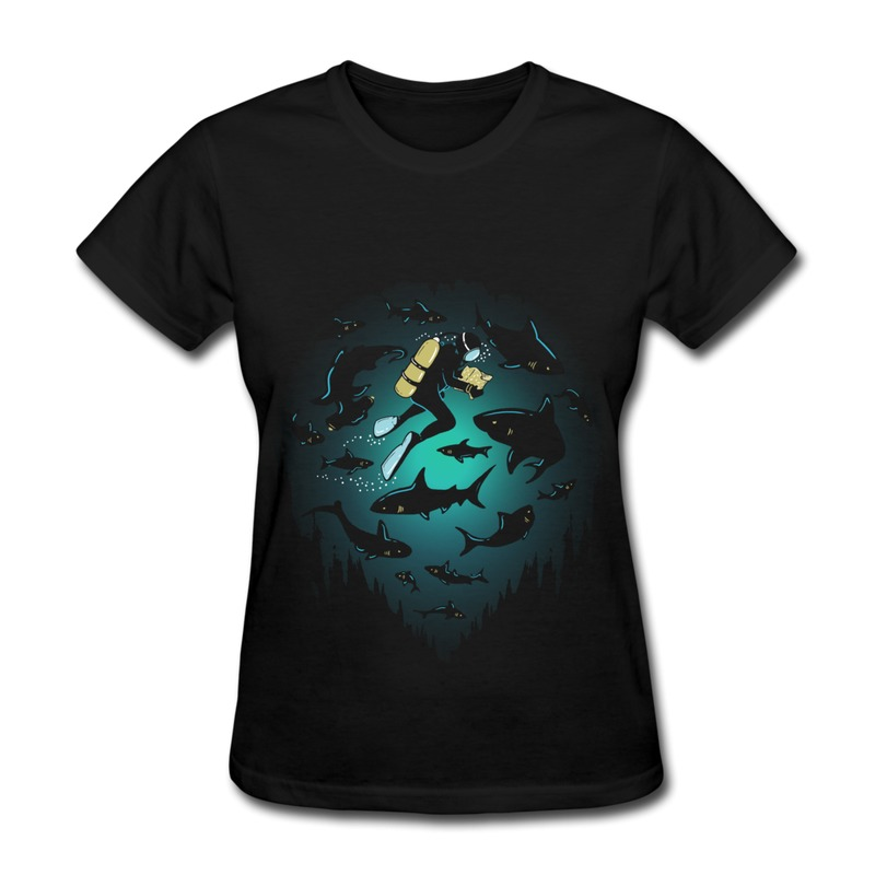 Low Price Regular Tee-Shirt Women's Diving Under Water World Customized Shapes T Shirts for Womans Slim Fitted