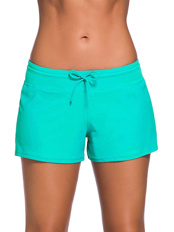 989aa75cb1b Get Quotations · Satinior Women Swimsuit Shorts Tankini Swim Briefs Side  Split Plus Size Bottom Boardshort Summer Beach Swimwear