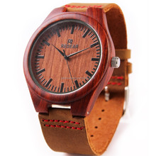 2017 natural Bamboo Wood Men and Women Quartz Clock Fashion Casual Leather Strap Wrist wooden Watch