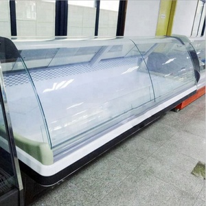 Hot sale deli refrigerator / Fan cooling meat display chiller / supermarket showcase fish display refrigerator with LED light