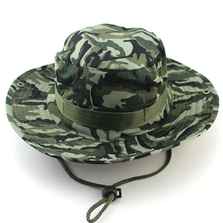 Summer Camouflage Bucket hat with string Fisherman Cap Military panama  safari boonie hat.   9b99049f470