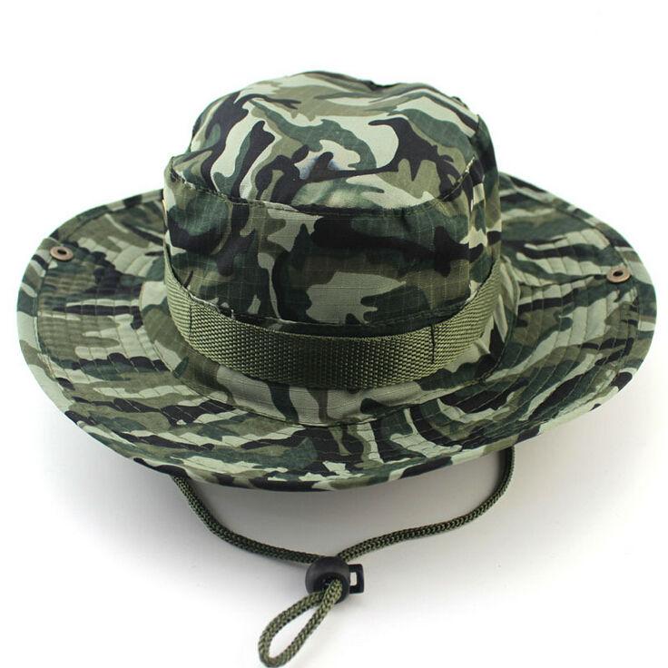 Summer Camouflage Bucket hat with string Fisherman Cap Military panama  safari boonie hat.   9b99049f470