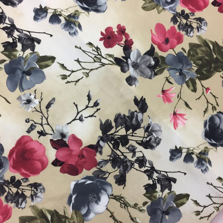 100 Polyester Printed Big Flower Silk Velvet Upholstery Fabric