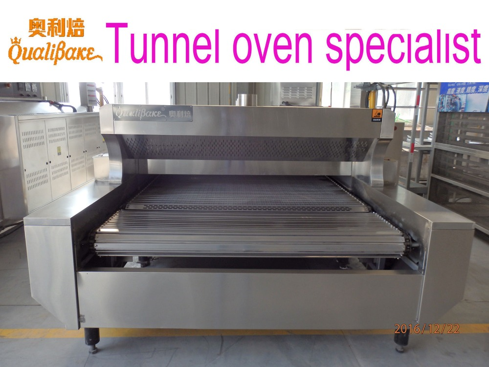 Profectional manufacturer of food production line offers direct fired bread baking tunnel oven design using gas