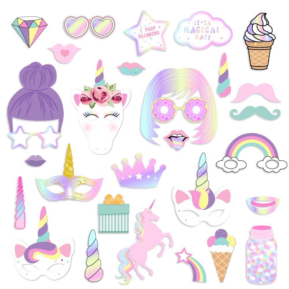 PZ146 Party Supplies kids birthday party Occasion Party Decoration 30 pcs Unicorn PhotoBooth Props <strong>wedding</strong>
