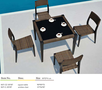 Beach garden table and chair set furniture of rattan