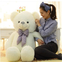 pink and white with big bowknot cotton soft lovable bear plush stuffed animals