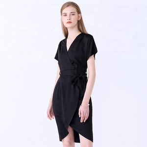 Elegant Modern Styles Batwing Women Belts Short Front Long Back Silk Chiffon Pattern Ladies Office Wear Dresses