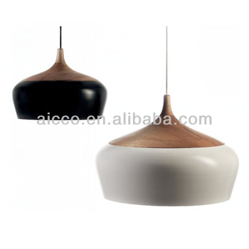 Modern Wooden Coco Pendant Lighting With Metal Shade