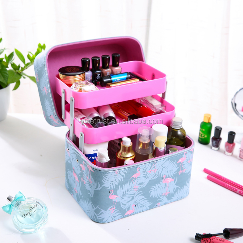 Newcom 3-layer Mock-croc Jewelry Box/Cosmetic Bag/Travel Case with Lock and Mirror