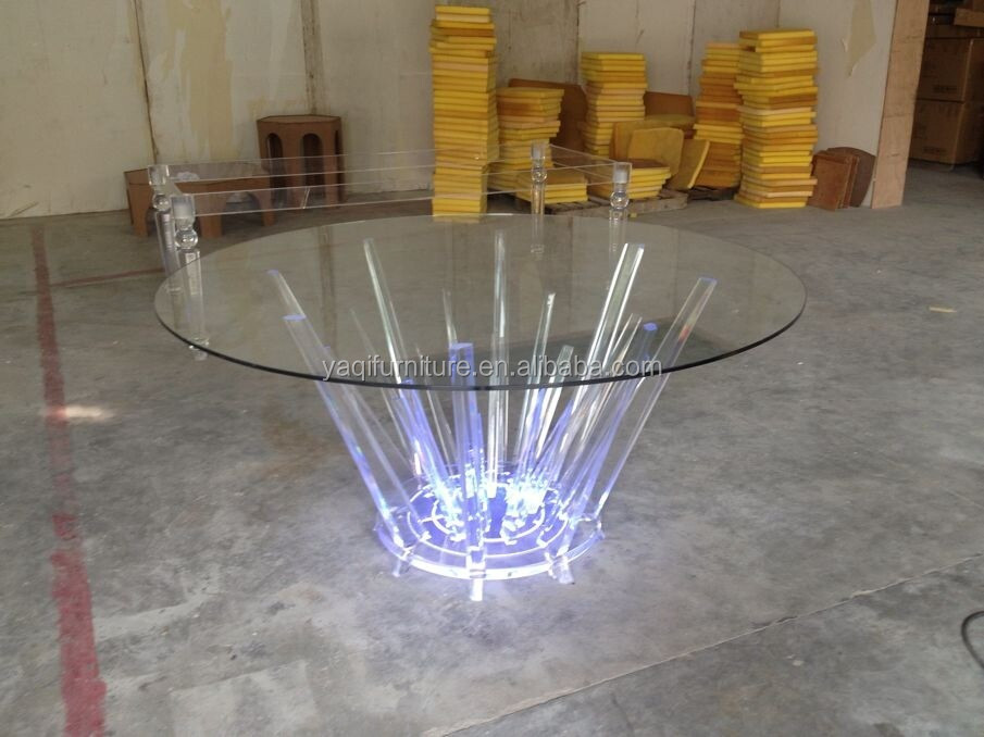Led Acrylic Round Dining Table