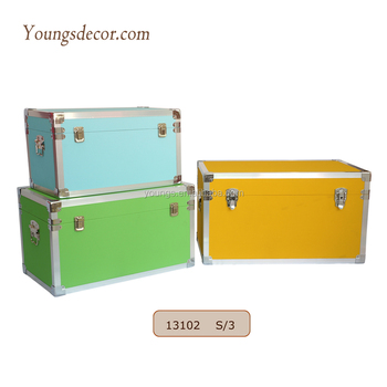 Large Storage Wooden Steamer Trunk Box with PU Leather Surface and Aluminum Rims