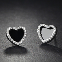 Antique Silver Black Heart Shape Stone Earrings