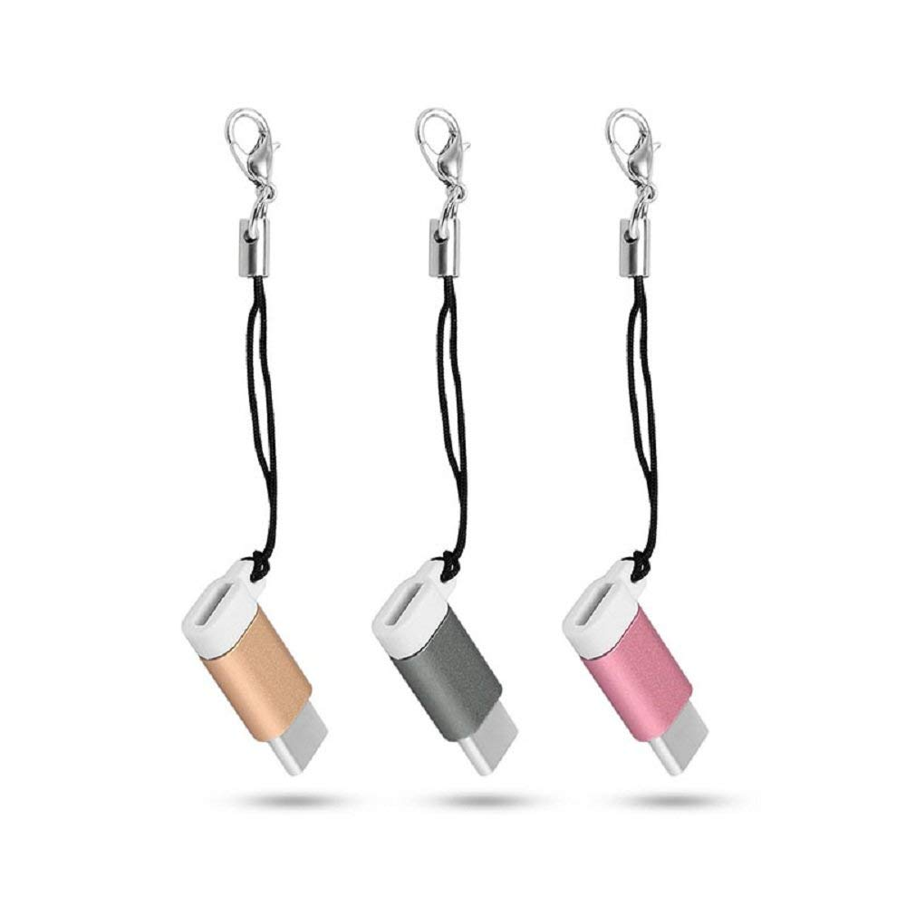 Youji 3 Pack USB Type C 3.1 Male to Micro USB Female Adapter Convert Connector with Keychain For Samsung A3/A5/A7(2017) 3 Colors