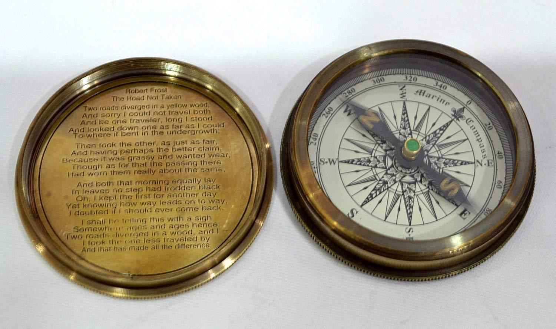 C-3142 Vintage Antique Robert Frost Poem Compass