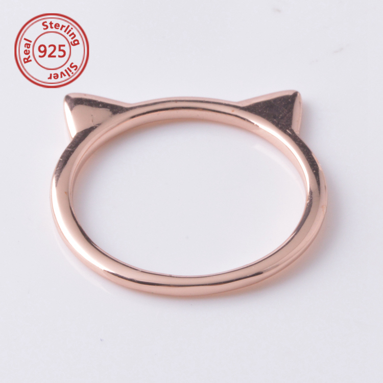 Ring In Kaars.Authentic 100 925 Sterling Silver Finger Pussy Ring Sweet Rose Cat