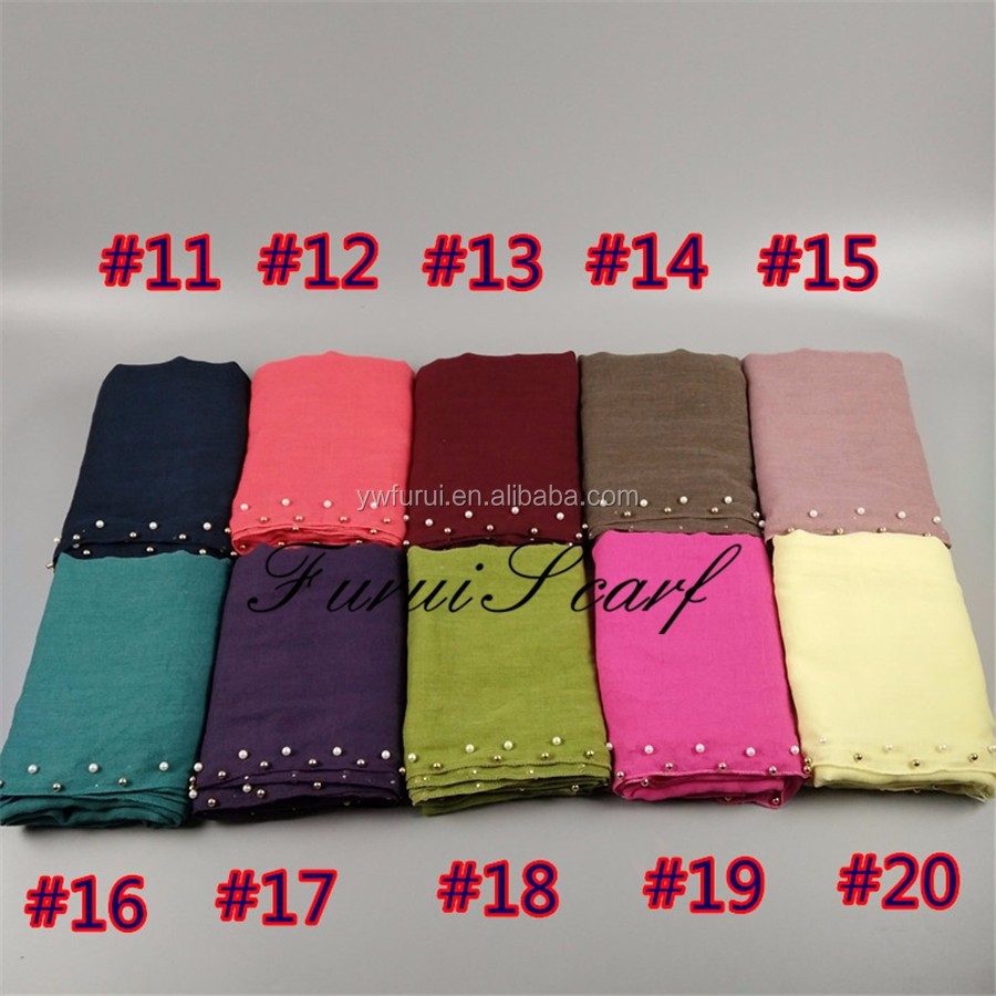 Nice Design Gold Pearl Colorful Beads Cotton Viscose Hijab Muslim Long Shawl Wraps Free Fast Shipping
