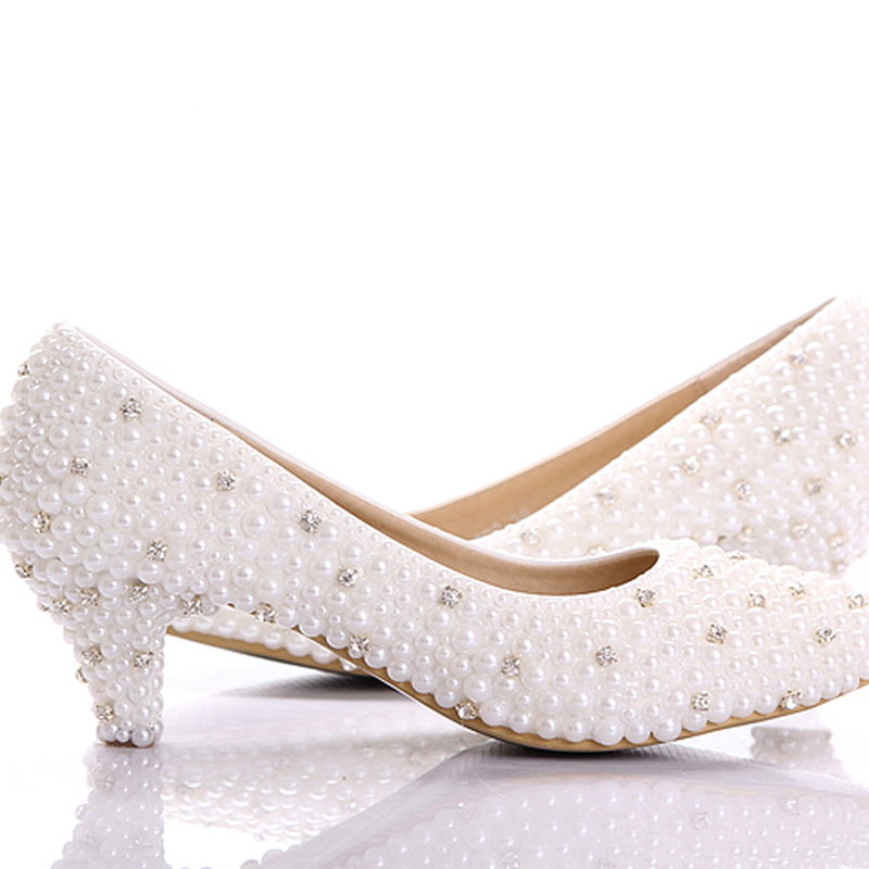 Get Quotations · 2015 Custom make large size small heel bridal wedding  shoes white pearl Low heels shoes Celebrity 8cc42cfacefb