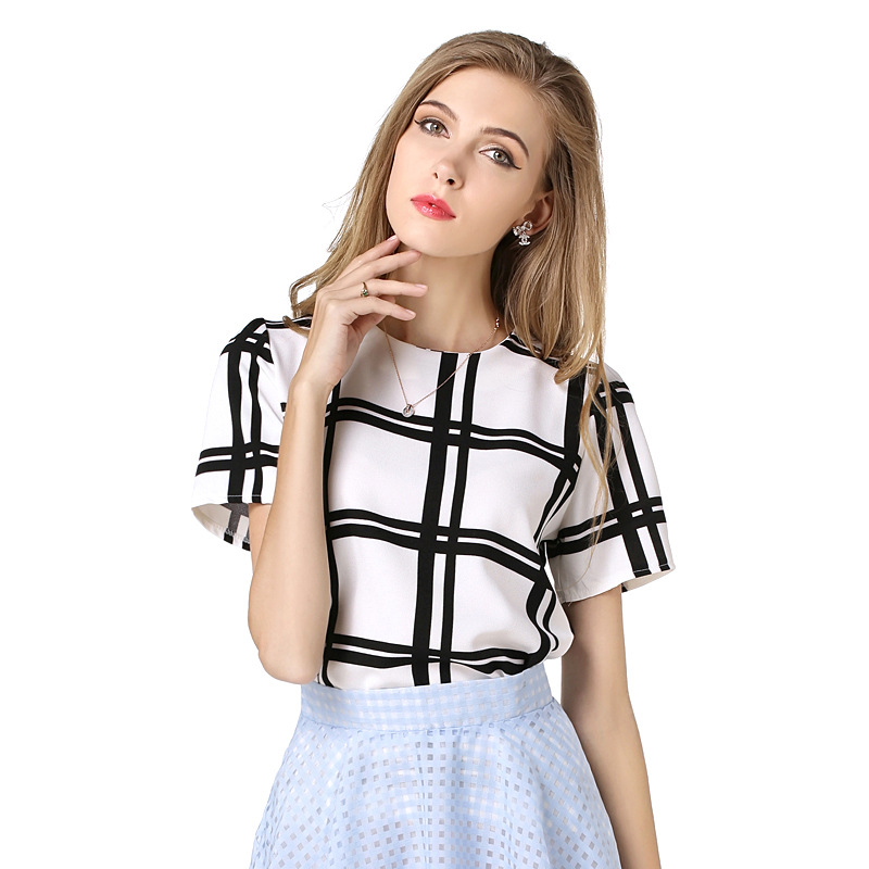 8c339ec36ad833 B10690A europe woman elegant plaid loose tops summer ladies blouse chiffon  tank tops fashion t shirt