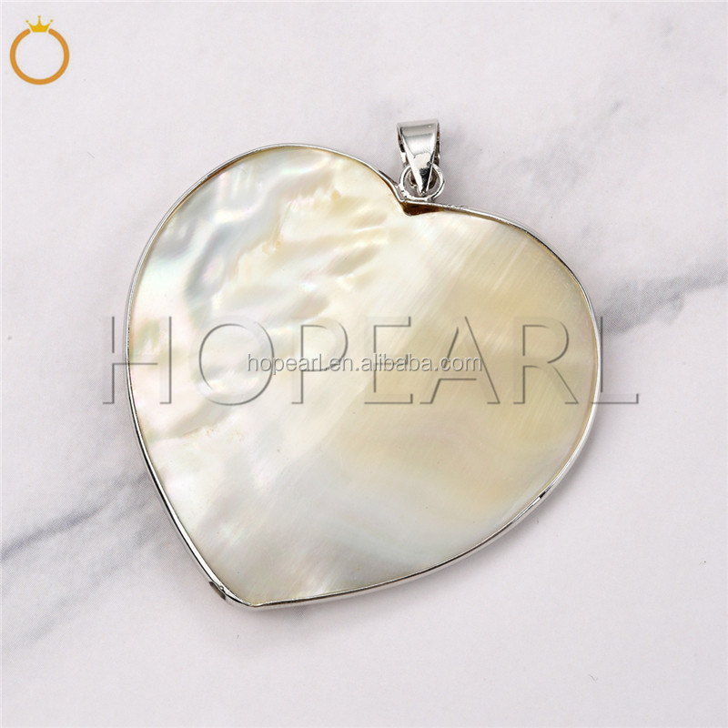 MOP173 Heart Beige Shell Pendant Raw Shell Pearl Jewelry DIY Supply Beach and Boho Inspired