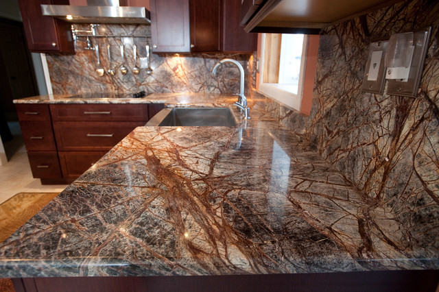 Hot Antique Rainforest Brown Marble Kitchen Countertops 36 X36 Polished Tiles