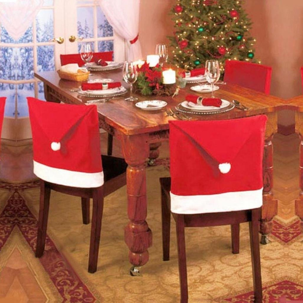 Iusun Hot ! Christmas Red Hat Chair Covers Non-Woven Xmas Decorations Dinner Chair Xmas Cap Sets (Non-Woven, 60X50cm,4PC)