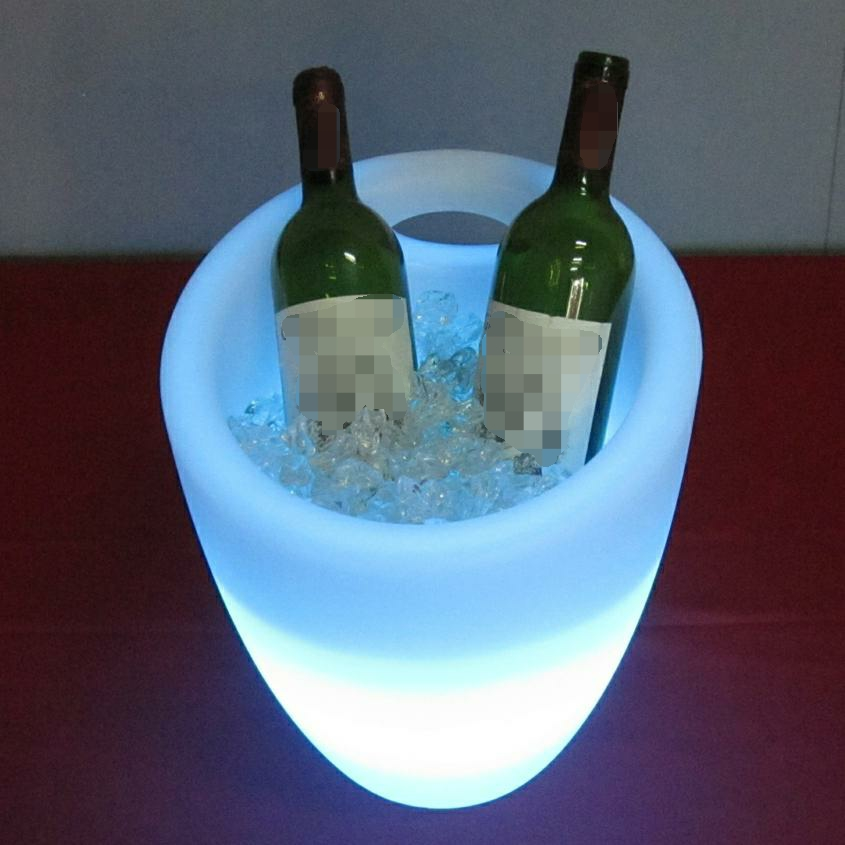 modern design plastic RGB color changing LED champagne ice bucket from factory directly  led wine ice bucket