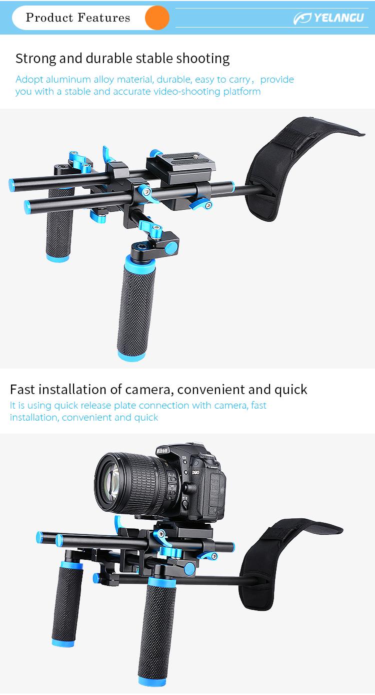 YELANGU Professional Photographic Aluminum Alloy Dslr Camera Cage Shoulder Rigs for Dslr Cameras