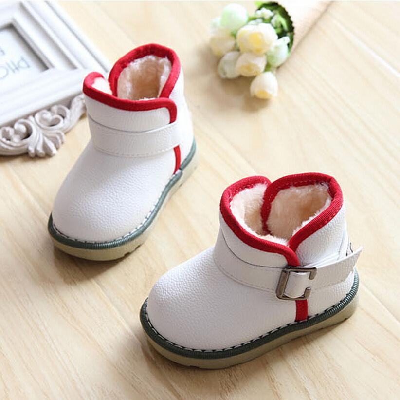 Waterproof Children Boots 2016 Winter Plush Girls Martin Boots Boys Warm Shoes Kids Baby Shoes