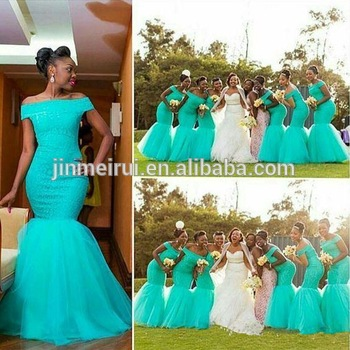 Mermaid Bridesmaid Dresses Mint Green African Off Shoulder Long Vintage Wedding Guest Gown Lace Party Arabic