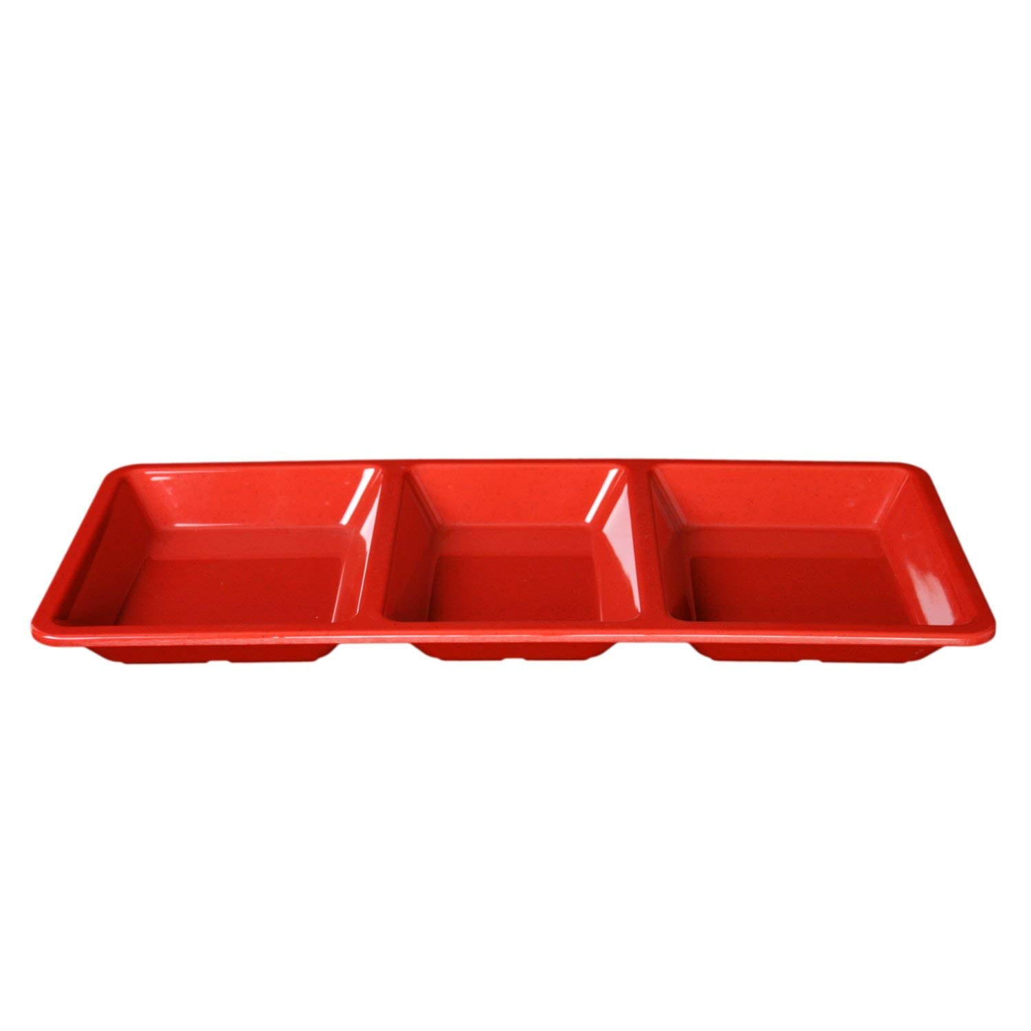 Excellante 1-Piece 28-Ounce Jazz Series Rectangular 3-Section Compartment Tray, 15-Inch by 6-1/4-Inch by 1-3/8-Inch, Jazz Red