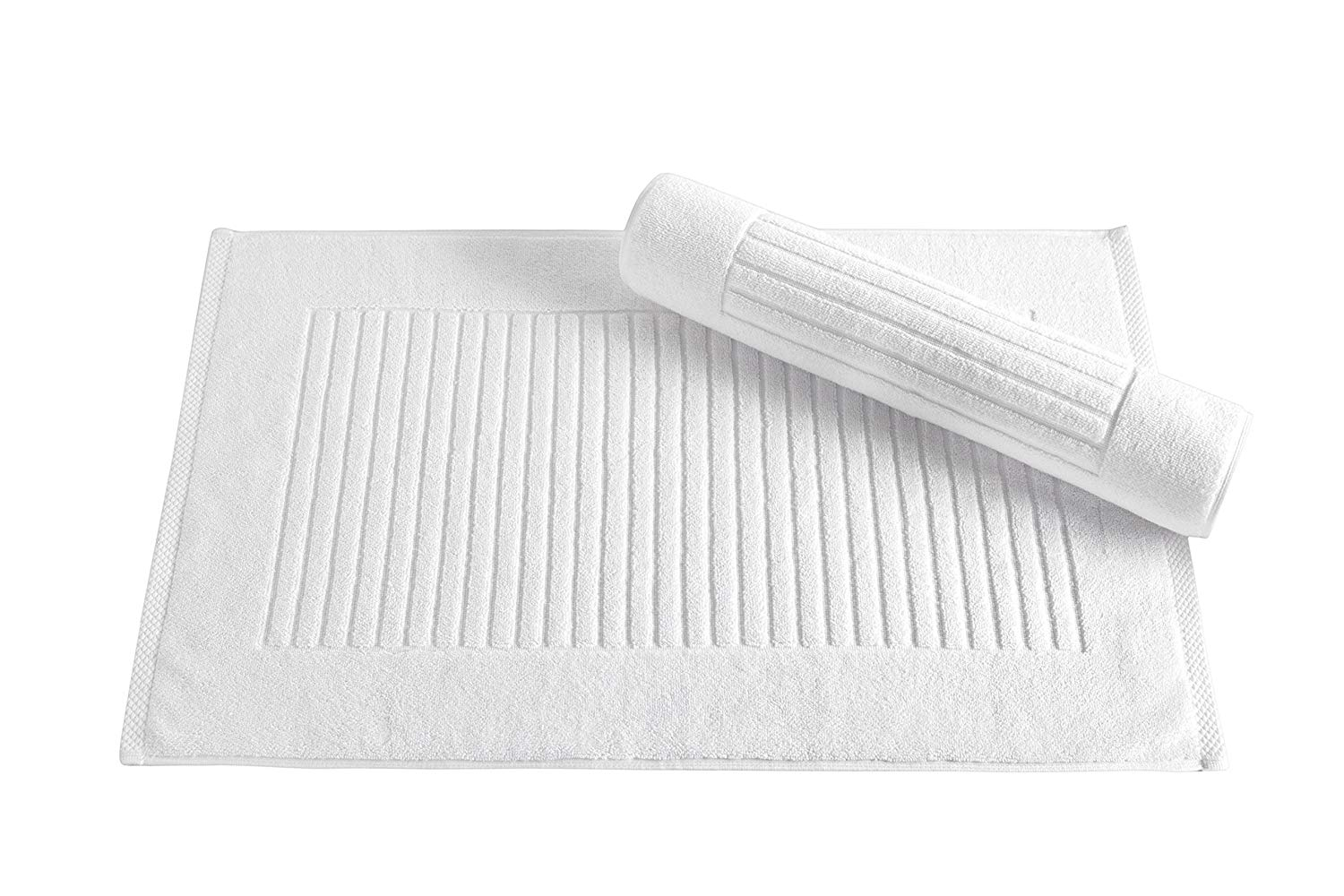 Classic Turkish Towels 2 Piece Bath Mat Set 20 x 33 inch - Soft and Absorbent Ribbed Bath Mats Made with 100% Turkish Cotton,White