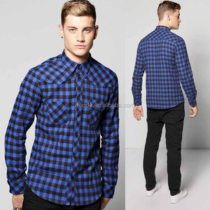 Custom Plaid Fannel Shirt Checked Button Down Long Sleeve Double Pocket Design 100% Cotton Shirt Mens Check Shirts
