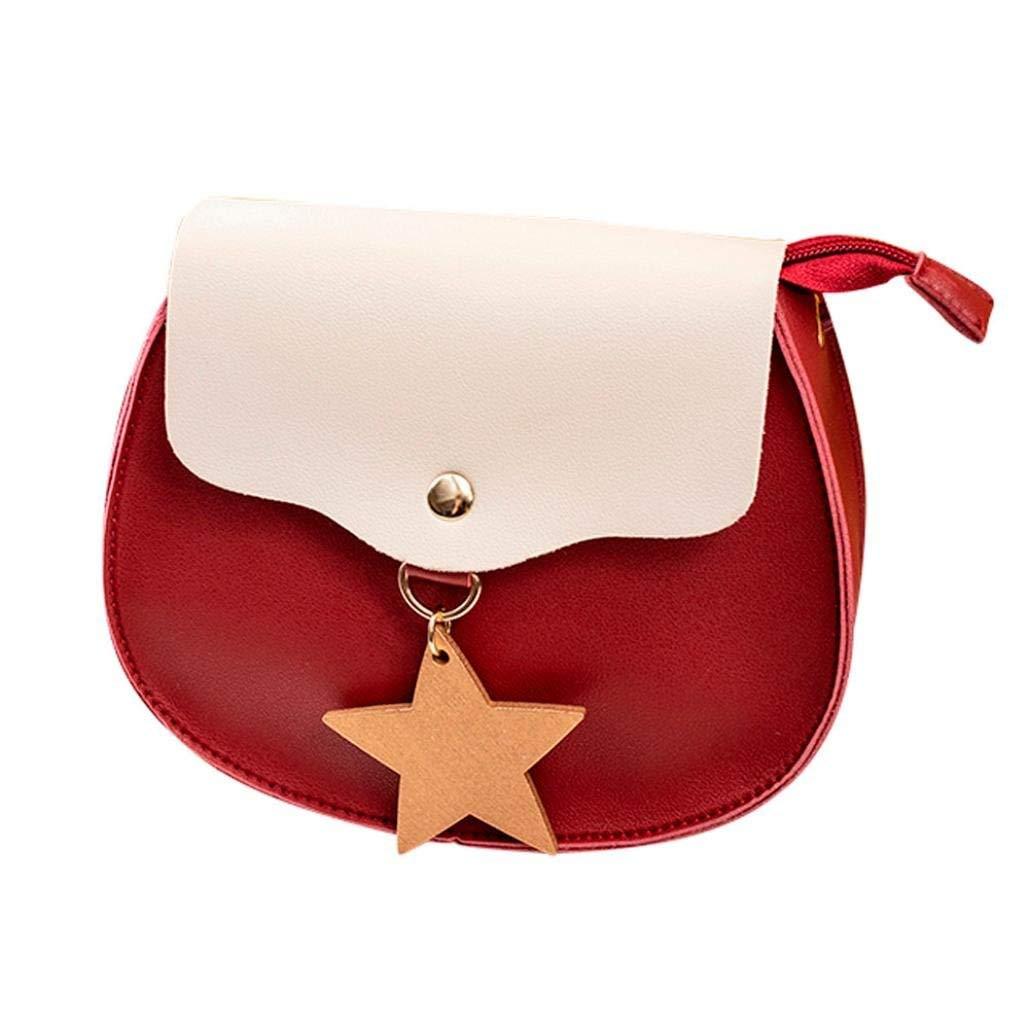 PU Leather Women Shoulder Bag Hit Color Messenger Satchel Tote Crossbody Bag Phone Bag Purse (Red)