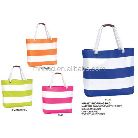 High Quality Waterproof Beach Bag With Zipper Tote Cotton Handles Striped Product On Alibaba