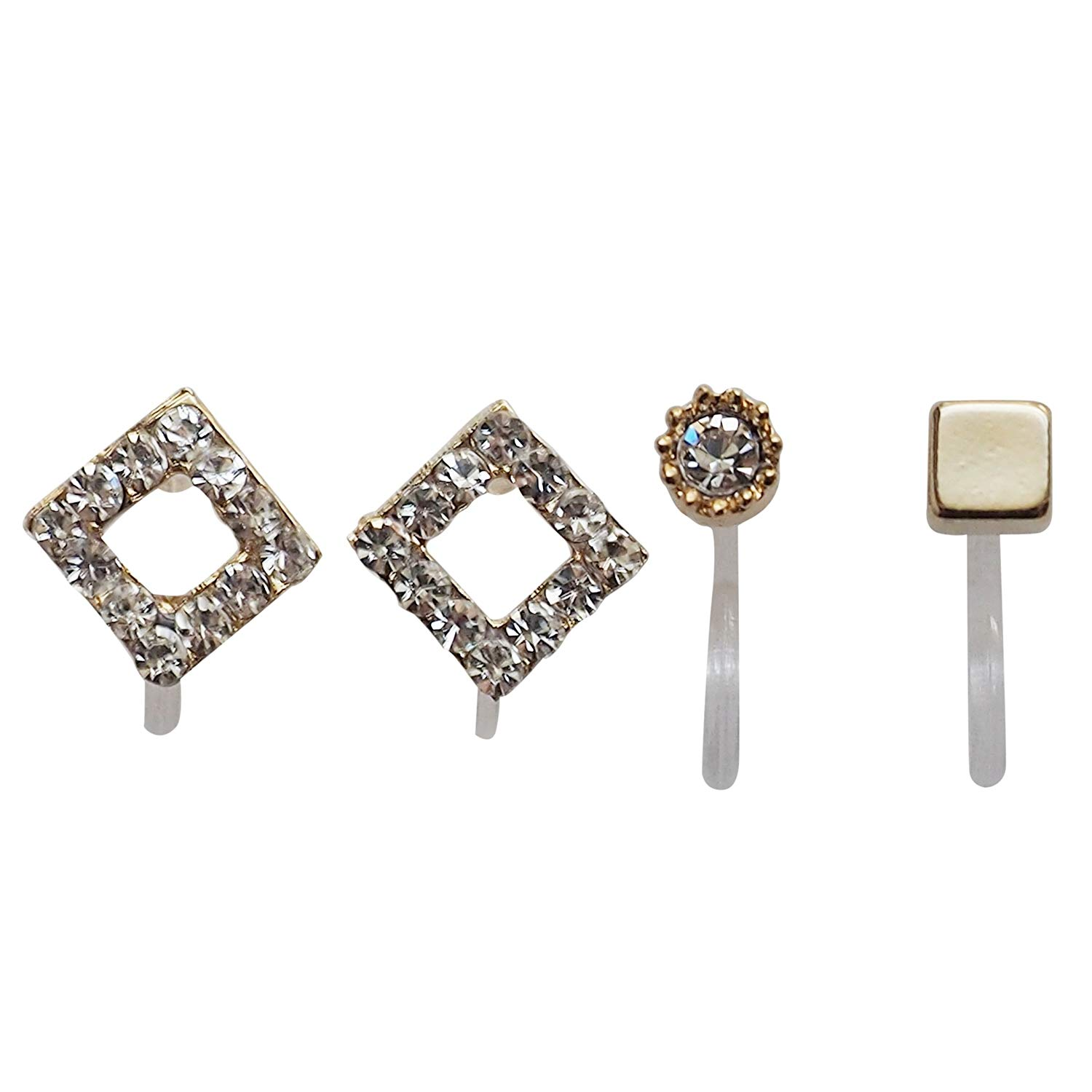 Miyabi Grace Women's Small Clear Square Rhinestone Crystal Invisible Clip On Stud Earrings Gold tone